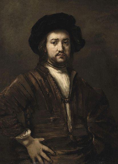 <i>Retrato de medio cuerpo de un hombre con los brazos en jarras,</i> de Rembrandt.