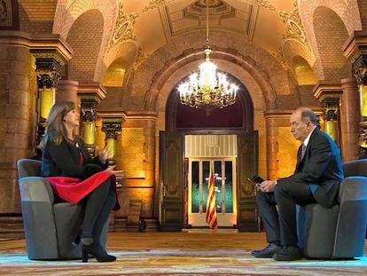 Laura Borràs y Vicent Sanchis, durante la entrevista en TV3 del pasado 14 de marzo.