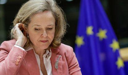 La ministra de Economía, Nadia Calviño, durante una reunión del Comité de Asuntos Económicos y Monetarios, el pasado enero.