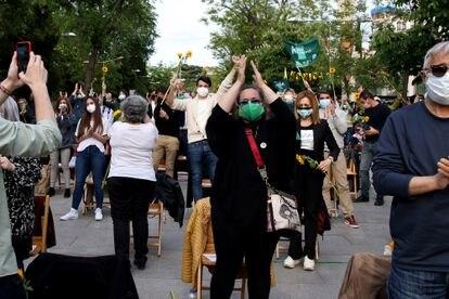 Simpatizantes de Más Madrid, en el acto de cierre de campaña.