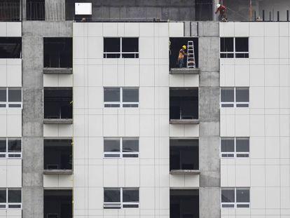 Trabajadores de la construcción en la Ciudad de México.