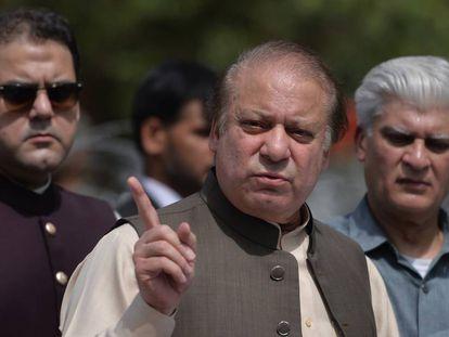 El ex primer ministro de Pakistán Nawaz Sharif, en una rueda de prensa en Islamabad en junio de 2017.