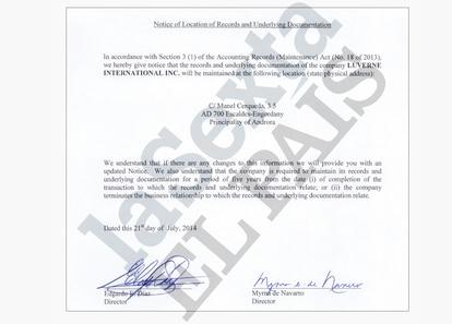 Uno de los documentos de administración de Luverne, remitido a una gestora andorrana vinculada a Andbank