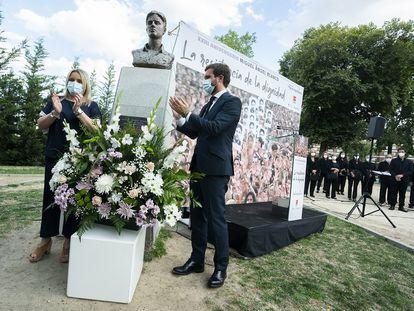 El líder del PP, Pablo Casado, el pasado 13 de julio, en el acto de homenaje de Miguel Ángel Blanco, concejal del PP asesinado por ETA.