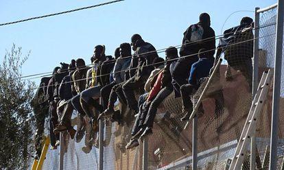 Un grupo de inmigrantes subsaharianos se queda atrapado en la valla fronteriza de Melilla tras intentar superarla en 2014.