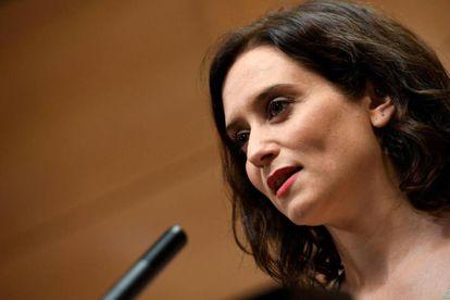 Isabel Díaz Ayuso, durante la rueda de prensa.