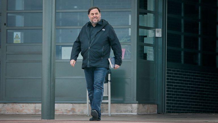 El exvicepresidente de la Generalitat Oriol Junqueras, condenado a 13 años de cárcel por sedición, en su primera salida de prisión el pasado 3 de marzo.