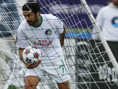 Raúl tras marcar un gol con el Cosmos.