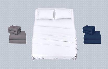 En gris, blanco y azul marino, estas sábanas se adaptan a distintos tamaños de cama.