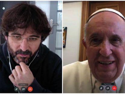 Jordi Évole y el Papa Franciso el domingo en el programa especial sobre el coronavirus en 'Lo de Évole'.