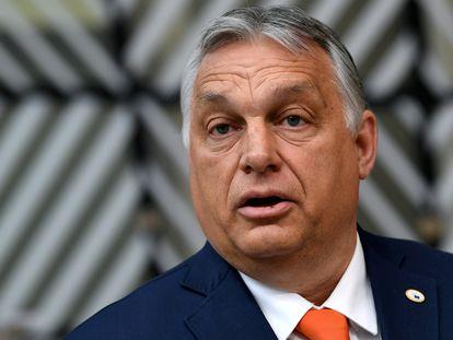 El primer ministro húngaro, Viktor Orbán, durante la cumbre de la Unión Europea en Bruselas el 24 de junio.