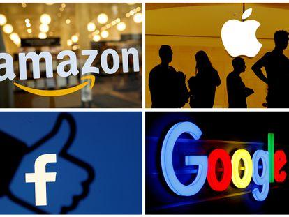 Los logos de Amazon, Apple, Facebook and Google.