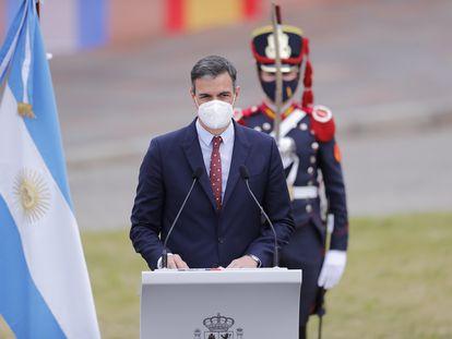 El jefe de Gobierno español, Pedro Sánchez, este miércoles en Buenos Aires.