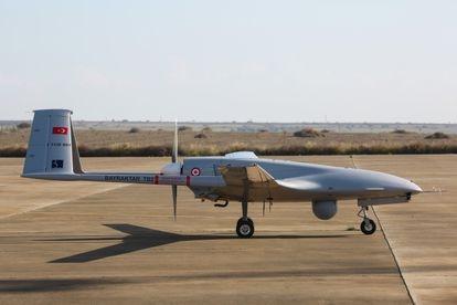 El primer dron Bayraktar TB2, en el aeropuerto turco de Gecitkale, en diciembre de 2019.