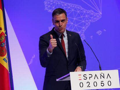 El presidente del Gobierno, Pedro Sánchez, durante la presentación del proyecto España 2050, este jueves.