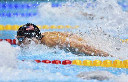 Phelps nada el relevo 4x100m, su última carrera, en los Juegos de Londres.