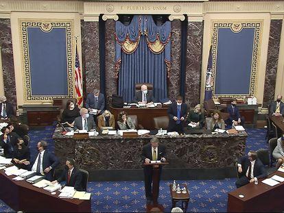 La sesión del juicio político a Donald Trump de este viernes, en el Capitolio.