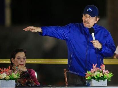 El presidente de Nicaragua, Daniel Ortega, junto a su esposa, Rosario Murillo.