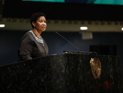Phumzile Mlambo-Ngcuka en la sede central de la ONU en Nueva York en el Día Internacional de la Mujer de 2018.