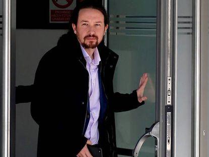 Pablo Iglesias, a su salida de la Audiencia Nacional, tras declarar como víctima en 2019.