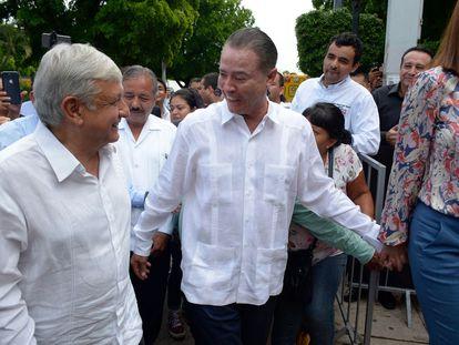 El presidente Andrés Manuel López Obrador y el gobernador de Sinaloa, Quirino Ordaz Coppel, en una foto de archivo.