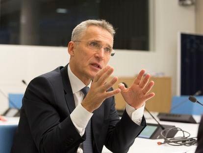 El secretario general de la OTAN, Jens Stoltenberg, durante una entrevista en Bruselas.