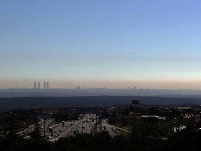 La 'boina' de contaminación de Madrid.