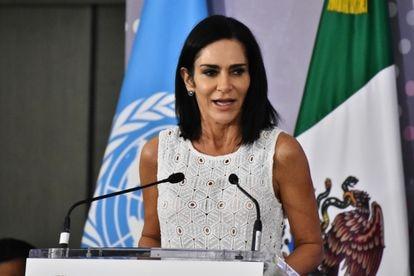 Lydia Cacho, en el lanzamiento de una iniciativa contra los feminicidios en México, en 2019.