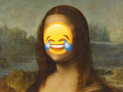 La Gioconda, una de las sonrisas más populares en el arte, con un emoji sobre su rostro
