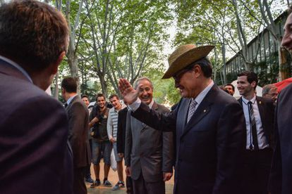 El Presidente de La Generalitat Artur Mas durante la inauguración de la Feria agrícola de Sant Miquel.