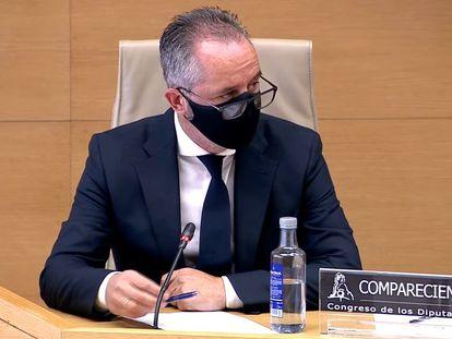 El comisario Andrés Gómez Gordo, durante su comparecencia en la comisión Kitchen del Congreso de los Diputados, el pasado mayo.