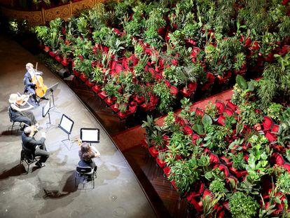 El patio de butacas del teatro del Liceo de Barcelona, lleno de plantas durante un concierto.