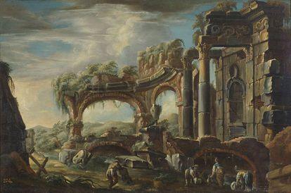 Paisaje con ruinas y figuras pintado por Joseph Carlos de Borbón.