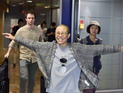 Liu Xia a su llegada al aeropuerto de Vantaa (Finlandia).