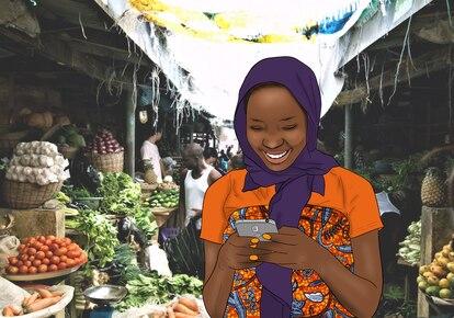 Imagen  promocional del juego de Digital Safe-Tea para incrementar los conocimientos de seguridad digital de los africanos, especialmente las mujeres.