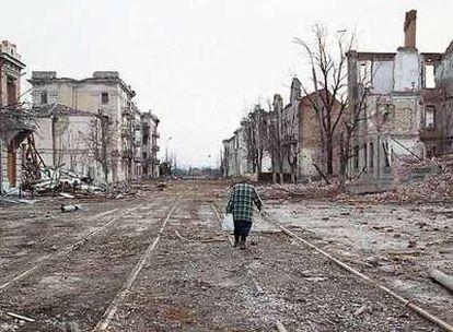 Imagen que presentaba el centro de Grozni en marzo de 2000, tras la segunda guerra chechena.