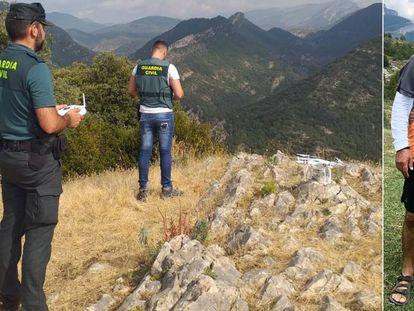 Agentes de Guardia Civil en la búsqueda en Huesca de Jesús Ríos, a la derecha.