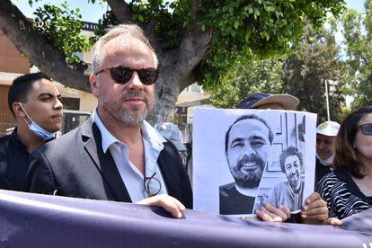 Christophe Deloire, secretario general de Reporteros Sin Fronteras (RSF), el martes en un acto de protesta en Casablanca en apoyo de Raissouni y Radi (en las fotos)