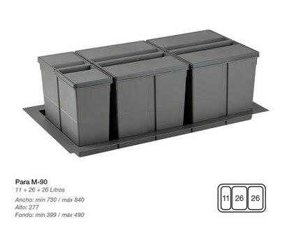 Un set de tres cubos de 11, 26 y 26 litros para separar residuos apto para un mueble de 90 centímetros.