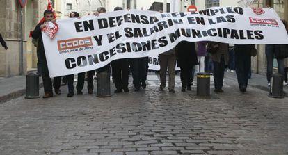 Una protesta de trabajadores de municipales de Jerez.