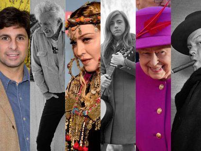 Algunas de las figuras que forman parte de este repaso: Fran Rivera, Nicholas Ray, Madonna, Mari Trini, la reina Isabel II de Inglaterra y Orson Welles.
