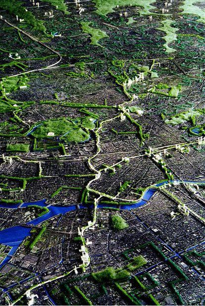 Una nueva red verde sobre la ciudad de Tokio, de la propuesta Fibercity Tokio 2050, de Hidetoshi Ohno. Edificio Acros (Fukuoka, Japón). . Contact Center (Querétaro, México).