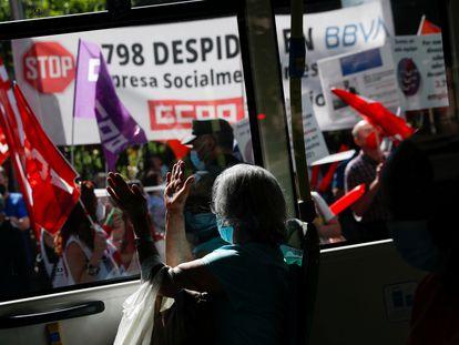 Protestas en Madrid contra el plan de despidos del BBVA, el pasado 2 de junio.