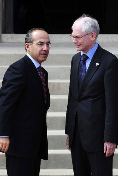 Felipe Calderón y Herman Van Rompuy, en Comillas.
