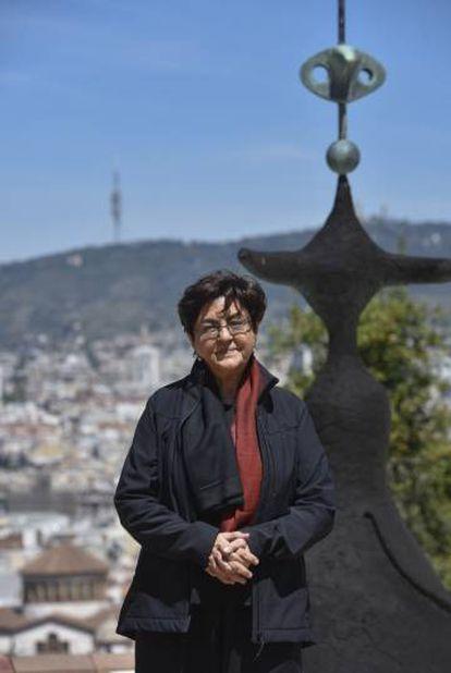 La artista india Nalini Malani esta mañana en la Fundación Joan Miró de Barcelona.