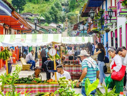 Mercado en el pueblo de Salento, Colombia.