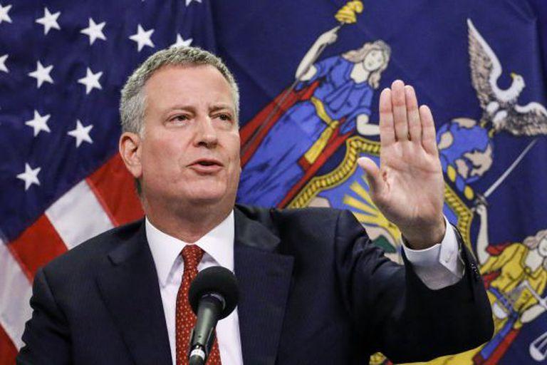 Bill de Blasio, alcalde de Nueva York, en una conferencia de prensa.