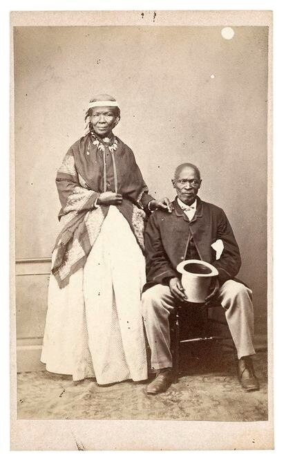 Photograph attributed to William Moore, entitled, 'Macomo and his principal wife', 1869. / THE WALTHER COLLECTION
