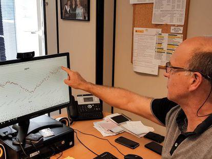 Cuevas señala en su ordenador el récord global de dióxido de carbono en la atmósfera.
