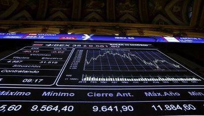 Panel informativo que muestra la evolución del principal indicador de la Bolsa española, el Ibex.